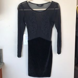 Embroidered Sheer Mini Dress